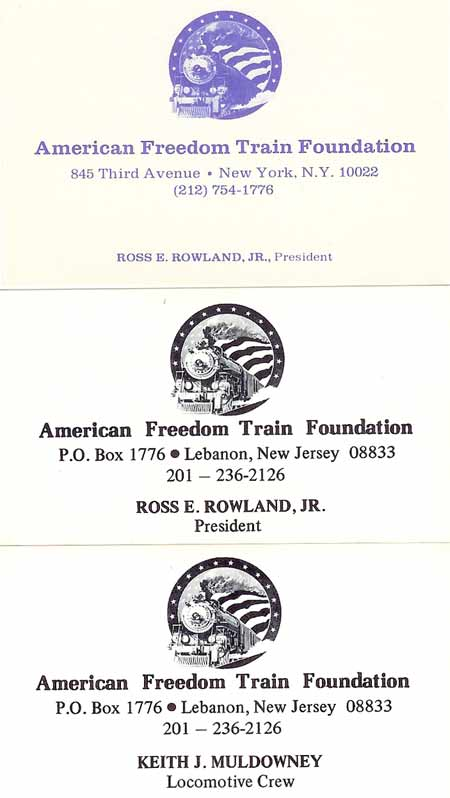American freedom train foundation business cards